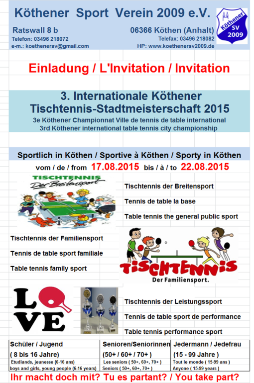 3. Internationale Köthener Tischtennis-Stadtmeisterschaft 2015